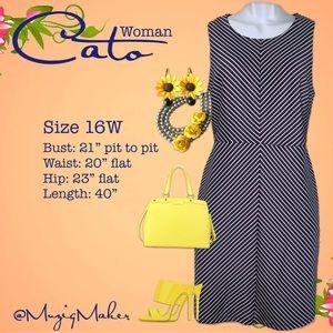 CATO WOMAN Blue & White striped Dress. Size 16W
